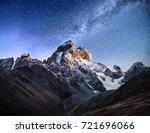 fantastic starry sky. autumn... | Shutterstock . vector #721696066