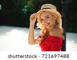 close up of beautiful young... | Shutterstock . vector #721697488