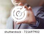 businessman pressing button... | Shutterstock . vector #721697902