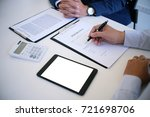 sales manager giving advice... | Shutterstock . vector #721698706