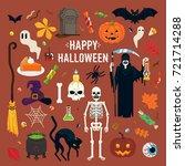 happy halloween vector design... | Shutterstock .eps vector #721714288