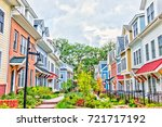 row of colorful  red  yellow ... | Shutterstock . vector #721717192