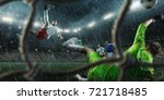soccer players performs an... | Shutterstock . vector #721718485