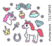 trendy sticker pack with...   Shutterstock .eps vector #721718935