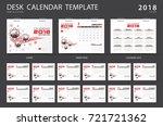 desk calendar 2018 template.... | Shutterstock .eps vector #721721362