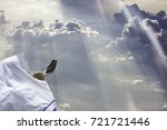 jewish man in tallit blowing... | Shutterstock . vector #721721446