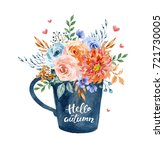 Watercolor Illustration. Cup...