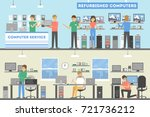 computer repair service. people ... | Shutterstock .eps vector #721736212