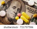 medicine pills or capsules ... | Shutterstock . vector #721737586