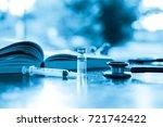 syringe needle stethoscope and...   Shutterstock . vector #721742422