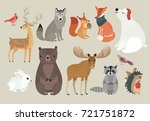 christmas set  hand drawn style ... | Shutterstock .eps vector #721751872