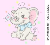 illustration with cute elephant ... | Shutterstock .eps vector #721762222