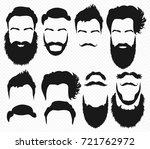 vector hair and beard shapes... | Shutterstock .eps vector #721762972