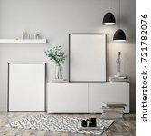 mock up poster frame in hipster ... | Shutterstock . vector #721782076