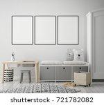 mock up poster frame in... | Shutterstock . vector #721782082