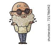 cartoon curious man with beard...   Shutterstock .eps vector #721786042