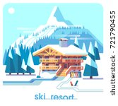 ski resort mountain detailed... | Shutterstock .eps vector #721790455