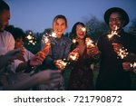 group of friends enjoying out... | Shutterstock . vector #721790872
