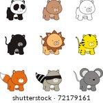 baby animals cartoon set in... | Shutterstock .eps vector #72179161