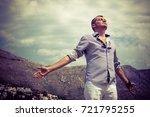 carefree man enjoying in... | Shutterstock . vector #721795255