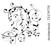 musical notes on swirly stave | Shutterstock .eps vector #72179770