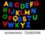 colorful plastic alphabets... | Shutterstock . vector #721803358