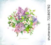invitation card with bouquet of ... | Shutterstock . vector #721805782