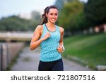 young smiling sporty woman... | Shutterstock . vector #721807516