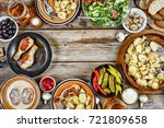 dinner table with roasted... | Shutterstock . vector #721809658