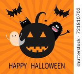 happy halloween. smiling... | Shutterstock .eps vector #721810702
