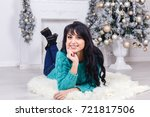 beautiful young happy woman... | Shutterstock . vector #721817506