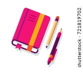 flat design closed notepad with ... | Shutterstock .eps vector #721819702