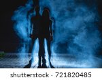 the couple stand on the dark...   Shutterstock . vector #721820485