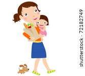 mother with a supermarket bag... | Shutterstock .eps vector #72182749