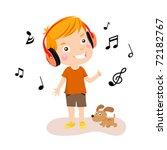 happy boy listening to music | Shutterstock .eps vector #72182767