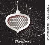 merry christmas silver glitter...   Shutterstock . vector #721828312