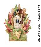 watercolor autumn illustration... | Shutterstock . vector #721836676