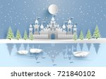 castle in winter on the lake.... | Shutterstock .eps vector #721840102