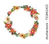 watercolor autumn wreath of... | Shutterstock . vector #721841422