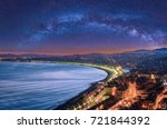 night aerial view of nice  cote ... | Shutterstock . vector #721844392