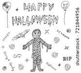 happy halloween hand drawn... | Shutterstock .eps vector #721844956