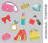 set of fun trendy vintage... | Shutterstock .eps vector #721859548