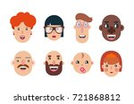 avatars  face  people. icons...   Shutterstock .eps vector #721868812