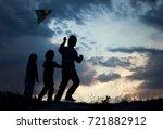 children playing kite on summer