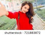 charming young brunette woman... | Shutterstock . vector #721883872