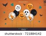 halloween party. trick or treat.... | Shutterstock .eps vector #721884142