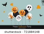 happy halloween party. holiday... | Shutterstock .eps vector #721884148