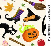 vector pattern with broom and... | Shutterstock .eps vector #721886995