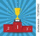 gold trophy cup on prize podium.... | Shutterstock .eps vector #721892062