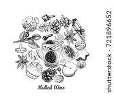 mulled wine ingredients set... | Shutterstock .eps vector #721896652